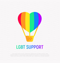 lgbt support icon aerostat with rainbow balloon vector image