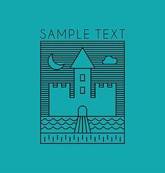 Line art badge or logo template line art of castle vector