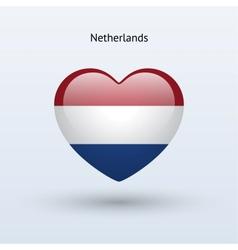 Love Netherlands symbol Heart flag icon vector