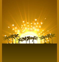 magic travel background with sun and palms vector image