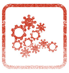 Mechanics gears framed textured icon vector