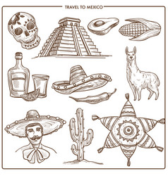 Mexico travel ladmarks sketch symbols vector