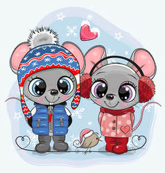 mouses boy and girl in hats and coats vector image