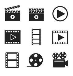 Movie filmmaking glyph icons set vector