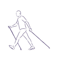 Nordic walking figures people walking vector