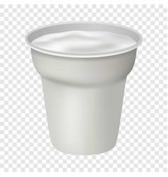 Open white yogurt mockup realistic style vector