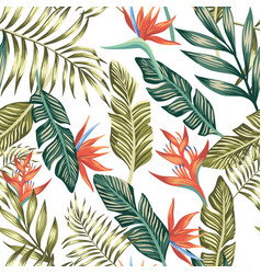 palm leaves tropical flowers seamless white vector image