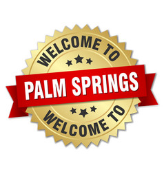 palm springs 3d gold badge with red ribbon vector image