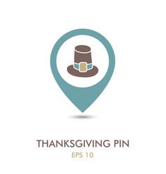 pilgrim hat mapping pin icon thanksgiving vector image