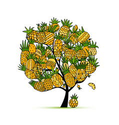 pineapple tree sketch for your design vector image