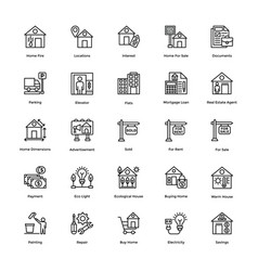 Real estate line icons set 3 vector
