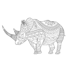 Rhinoceros coloring book for adults vector