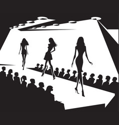 runway models on fashion show in black and white vector image