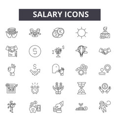 salary line icons signs set outline vector image
