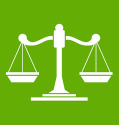scales of justice icon green vector image