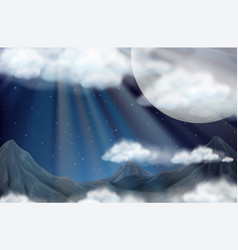 Scene with fullmoon and mountains vector