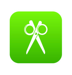 scissors icon green vector image