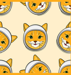 Seamless background with the head of a cat in a vector
