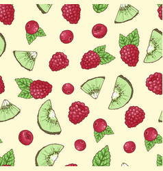 Seamless pattern kiwi raspberry cherry vector