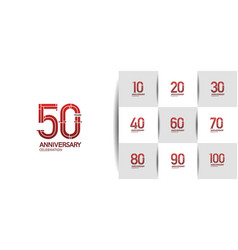Set anniversary logo style with red premium vector