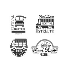 Set of emblems and badges for food truck vector