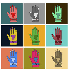 Set of icons in flat design glove vector