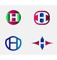 Set of letter H logo icons design template element vector image