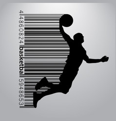 silhouette of a basketball player and barcode vector image