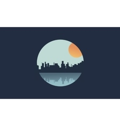 Silhouette of icon city and sun vector