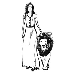 sketch girl walking with lion hand vector image