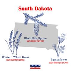 South dakota set usa official state symbols vector