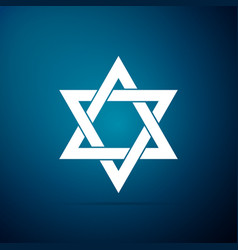 star of david icon isolated on blue background vector image