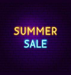 Summer sale text neon label vector
