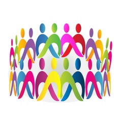 Teamwork meeting people logo design vector image