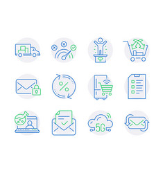 Technology icons set included icon as cross sell vector