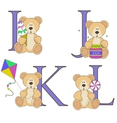 Teddy bear alphabet i j k l with vector image