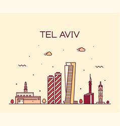 tel aviv skyline israel linear style vector image