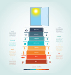 Template infographics steps staircase to open vector