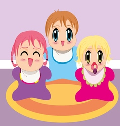 Three manga babies vector