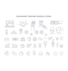 trading exchange set doodle icons vector image