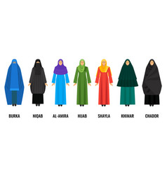 Traditional arabic women clothing isolated cartoon vector