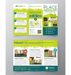Tri Fold Real Estate Brochure Flyer template vector image