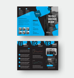 Trifold template with blue geometric folding vector