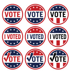 Vote and i voted political election logo set vector