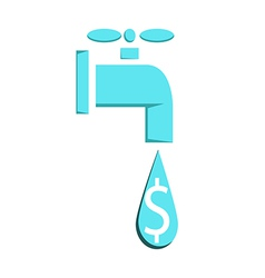 Water faucet leaking or pouring money Money vector