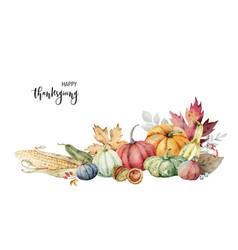 watercolor festive autumn decor colorful vector image
