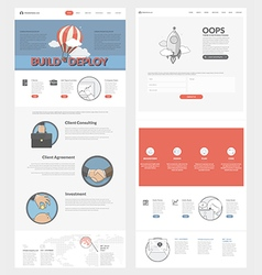 Website template with concept icons for business vector