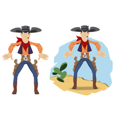 wild west world cowboy duel funny people vector image