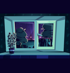 window at night rosemary on sill vector image