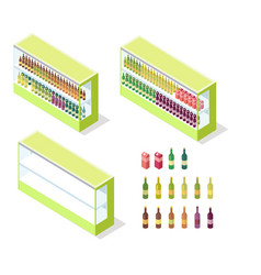 wine in groceries showcase isometric vector image